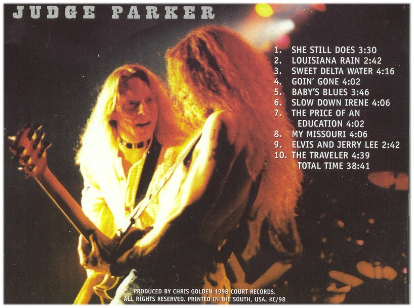The backcover of the latest CD by Judge Parker